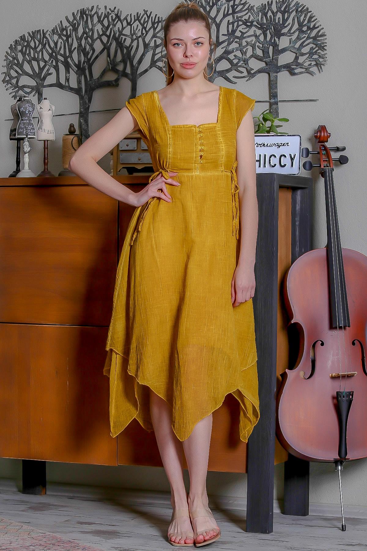 Chiccy Kadın Hardal Kare Yaka Düğme Detaylı Yanı Bağlamalı Asimetrik Yıkamalı Elbise M10160000EL95344 2
