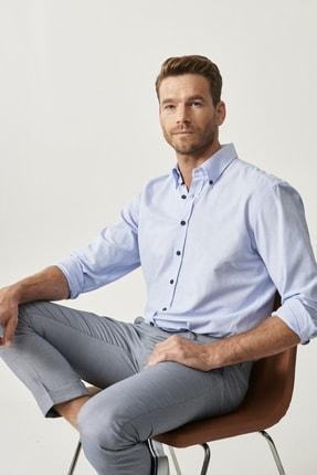 Altınyıldız Classics Erkek Açık Mavi Düğmeli Yaka Tailored Slim Fit Oxford Gömlek 2