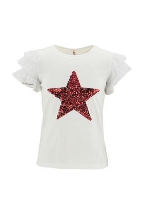 Defacto Kız Çocuk Yıldız Payetli Kısa Kol Tişört 0