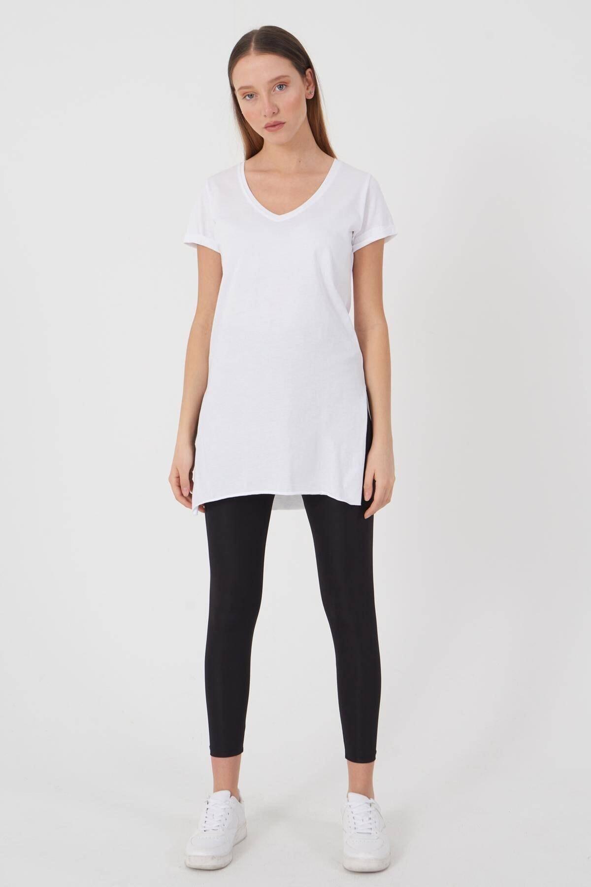 Addax Kadın Beyaz V Yaka T-Shirt P0102 - U1 Adx-00007205 0