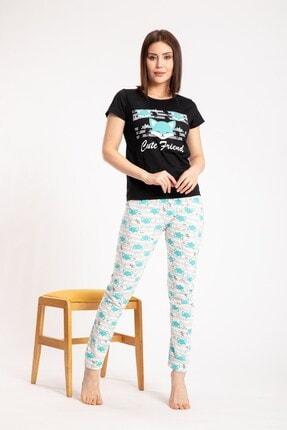 Pemilo Kadın Siyah Tilki Desenli Kısa Kol Pijama Takımı 1