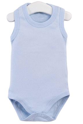 Pattaya Kids Erkek Bebek Mavi Kolsuz Çıtçıtlı Body 0-36 Ay 0