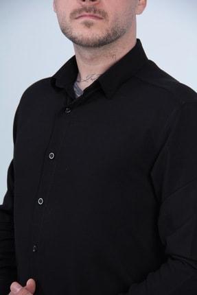 MODAGEN Erkek Siyah Uzun Kollu Spor Kesim Gömlek 3