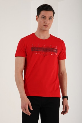 Tommy Life Erkek Kırmızı Black Yazı Baskılı Rahat Kalıp O Yaka T-shirt - 87954 2