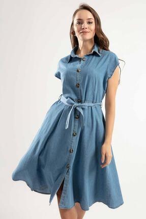 Pattaya Kadın Kuşaklı Kısa Kollu Kloş Gömlek Elbise Y20s110-1677 0