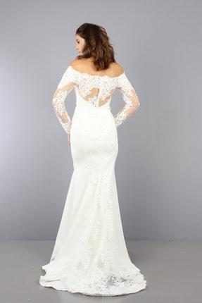 VOLAN Kadın Beyaz Nikahlık Gelinlik Balık Abiye Elbise 4
