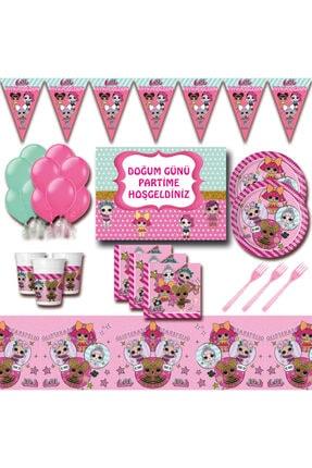 Bebek Mega Dev Afişli 8 Kişilik Pembe Doğum Günü Parti Malzemeleri Seti pkalol6