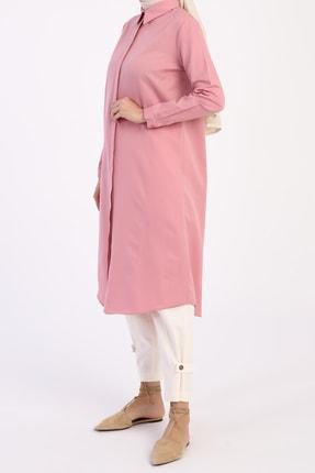 ALLDAY Kadın Pembe Gizli Patlı Gömlek Tunik 2