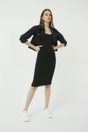 Vis a Vis Kadın Siyah Ön Arka U Yaka Midi Kaşkorse Elbise STN723KEL163 3