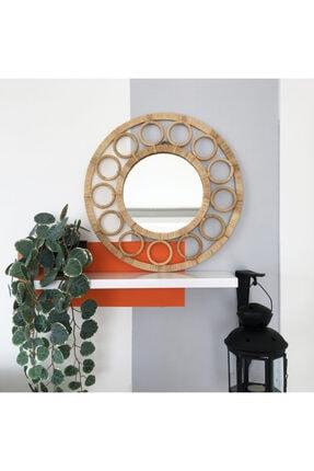 Elysium Home Art Halka Detaylı Rafya Dekoratif Duvar Aynası 2