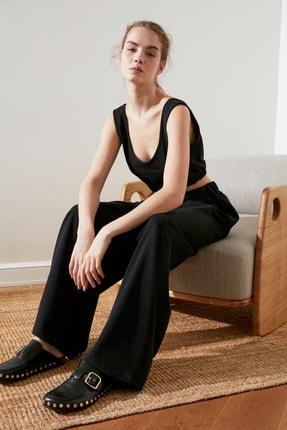 TRENDYOLMİLLA Siyah Flare Örme Pantolon TWOSS21PL0410 0