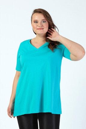 Büyük Moda Kadın Turkuaz V Yaka Basıc T-Shirt 1