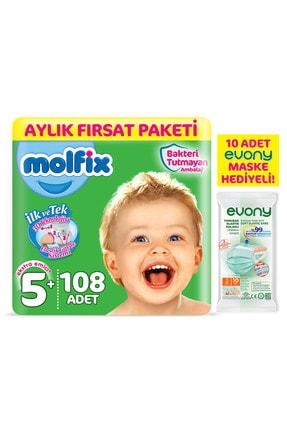 Molfix Bebek Bezi 5+ Beden Junior Plus Aylık Fırsat Paketi 108 Adet + Maske 10lu Hediye 0