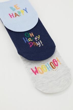 Defacto Kadın Gri Yazı Desenli 3'lü Babet Çorap 1