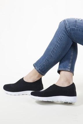 RAHATADIMLAR Kadın Siyah Beyaz Triko Sneaker 1