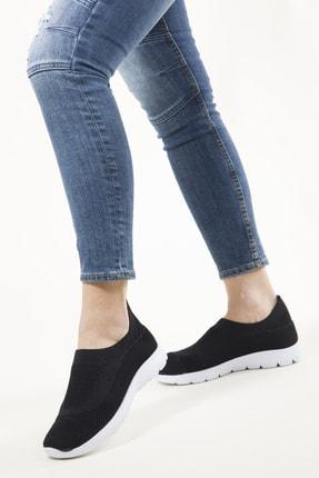 RAHATADIMLAR Kadın Siyah Beyaz Triko Sneaker 2