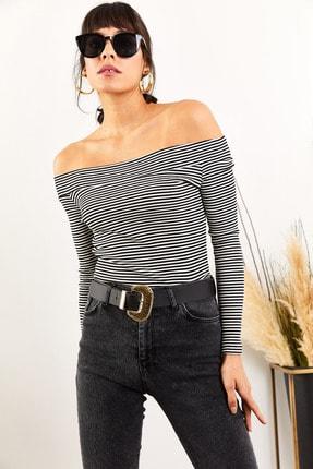 Olalook Kadın Siyah Çizgili Kayık Yaka Likralı Kaşkorse Bluz BLZ-19001351 2