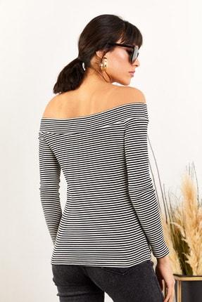 Olalook Kadın Siyah Çizgili Kayık Yaka Likralı Kaşkorse Bluz BLZ-19001351 4