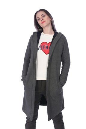 Jeans Kadın Uzun Hırka Modeli Gri TXCB428FE7312