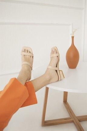 Straswans Kadın Ten Ronex Topuklu Deri Sandalet 2
