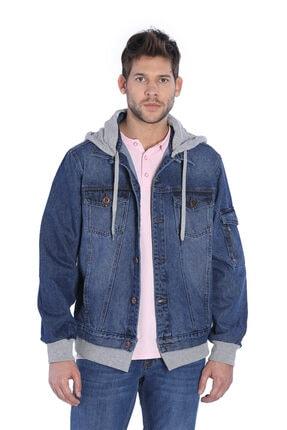 Jeans Erkek Jean Ceket Kapüşonlu Mavi TXCB428FE7733