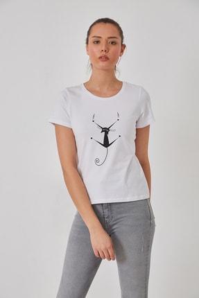 FSM Kedi Baskılı Pamuk Penye Tshirt 0
