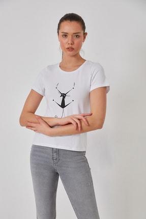 FSM Kedi Baskılı Pamuk Penye Tshirt 1