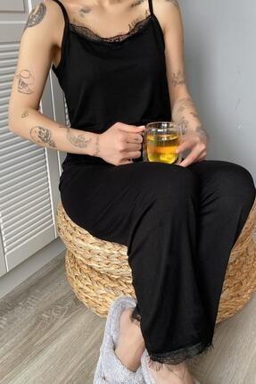 Pijamaevi Kadın Siyah Dantelli İp Askılı Örme Pijama Takımı 2