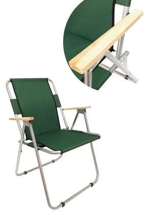 Tedarikcenter 2 Adet Ahşap Kollu Yeşil Kamp Sandalyesi + 1 Adet 60x45 cm Katlanır Masa 1