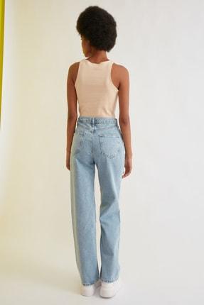 TRENDYOLMİLLA Mavi Bel Detaylı Yüksek Bel 90's Wide Leg Jeans TWOSS21JE0385 4