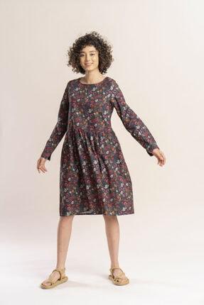 İpekçi Otantik Kadın Haki Otantik Çiçek Desenli Pazen Elbise 2