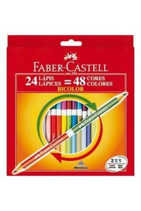 Faber Castell Faber Bicolor 24x2 Renk Uzun Kuru Boya (5171120624) 0