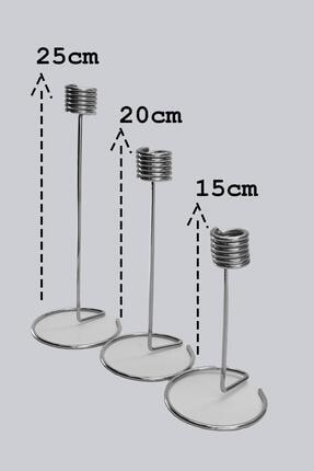 Dekolia 3'lü Metal Şamdan Seti Gümüş Renk Kaplama 2