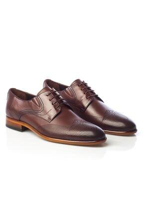 MARCOMEN Kahve Baskılı Hakiki Deri Bağcıklı Erkek Klasik Ayakkabı • A19eymcm0020 1