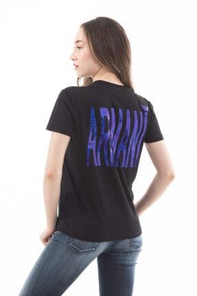 Emporio Armani Kadın  Pamuklu Sırt Logo Yazılı Kısa Kollu T-shirt 3