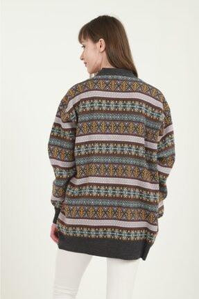 Anıl Tekstil Kadın Gri Etnik Desenli Hırka 2