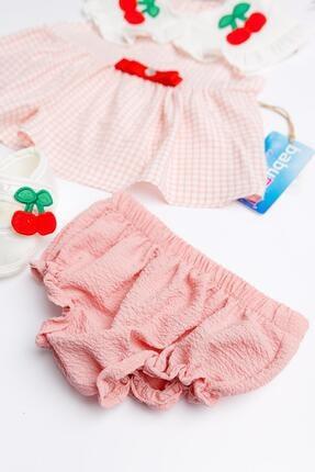 Babymod Kiraz Işlemeli Kız Bebek Elbise Takımı 1
