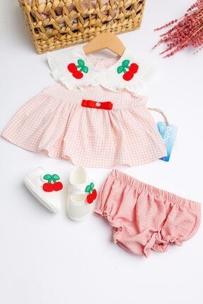 Babymod Kiraz Işlemeli Kız Bebek Elbise Takımı 3