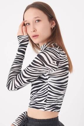 Addax Kadın Siyah Beyaz Zebra Desenli Bluz P1083 - Y3W2 Adx-0000023310 2