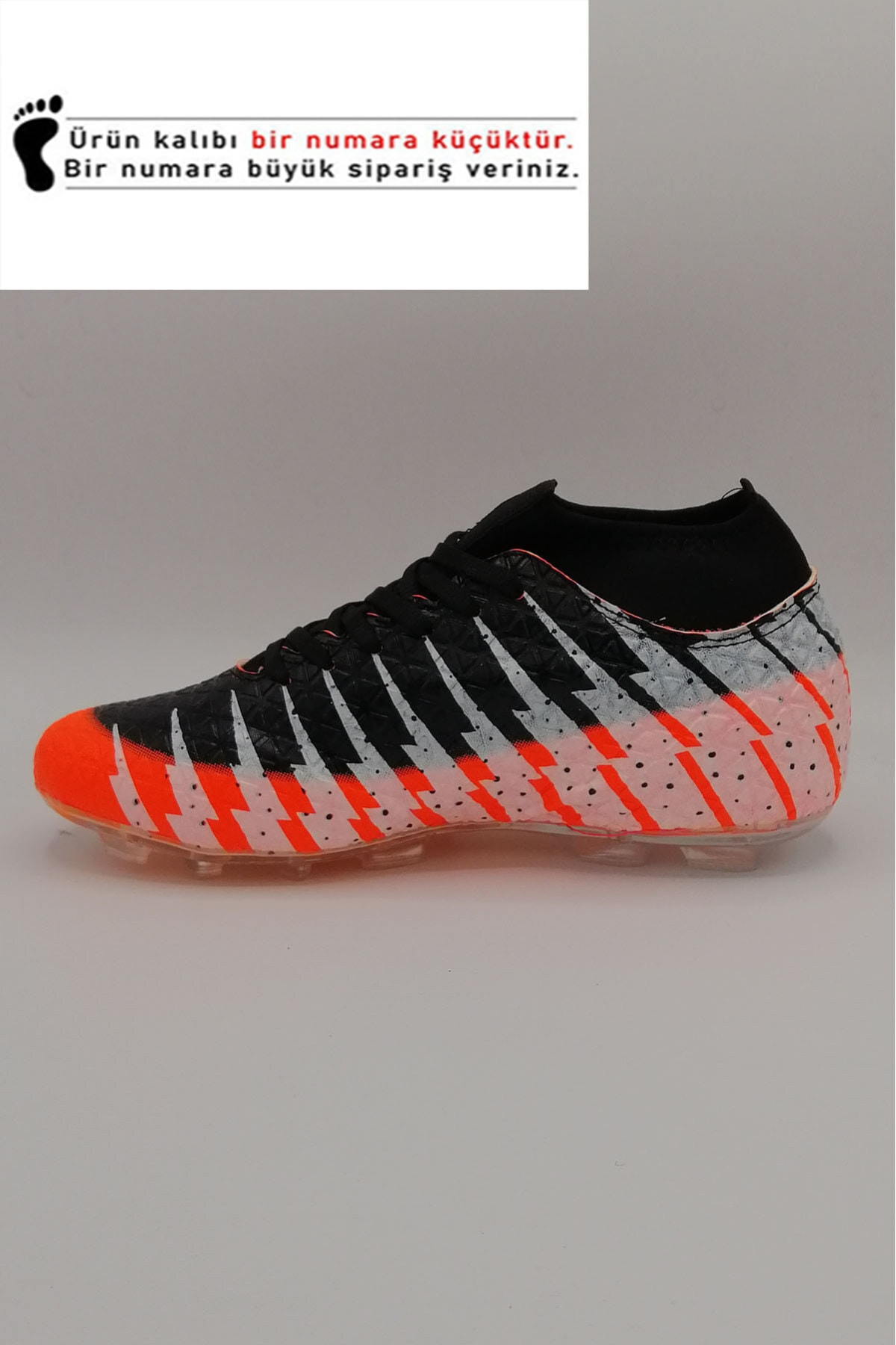 modastar Lion 1453 Erkek Turuncu Siyah Çoraplı Futbol Krampon Ayakkabı