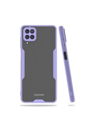 Samsung A12 Kılıf Kamera Korumalı Mat Renk Silikon Parfe Model Mor 0