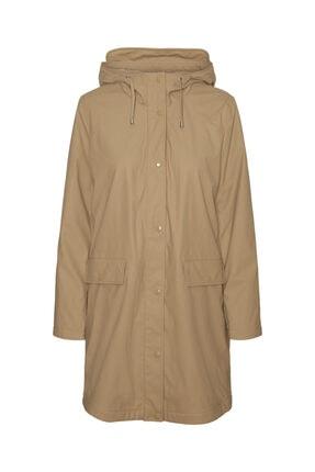 Vero Moda Kadın Bej Kapüşonlu Polarlı Yağmurluk Mont 10238956 0