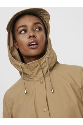 Vero Moda Kadın Bej Kapüşonlu Polarlı Yağmurluk Mont 10238956 4