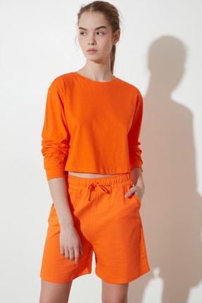 TRENDYOLMİLLA Turuncu Crop Örme T-Shirt TWOSS21TS0659 2