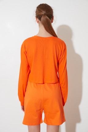 TRENDYOLMİLLA Turuncu Crop Örme T-Shirt TWOSS21TS0659 4