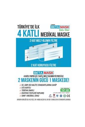 SARFAŞ Beta Mask Beyaz ÜTS Kayıtlı 4 Katlı  Meltblown Filtre Cerrahi Maske 100 Adet 1