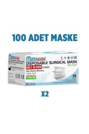SARFAŞ Beta Mask Beyaz ÜTS Kayıtlı 4 Katlı  Meltblown Filtre Cerrahi Maske 100 Adet 4