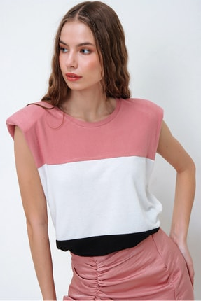 Trend Alaçatı Stili Kadın Gül Kurusu Vatkalı Üç Bloklu Yumuşak Dokulu Bluz ALC-X5977 3