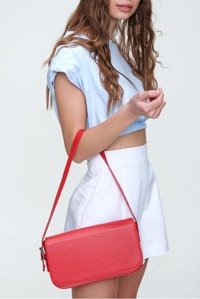 Trend Alaçatı Stili Kadın Kırmızı Dikdörtgen Şekil Suni Deri Omuz Çantası ALC-A2169 2