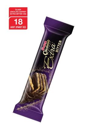 Ülker Çikolatalı Gofret EXTRA Bitter 45 Gr x18 Adet 0